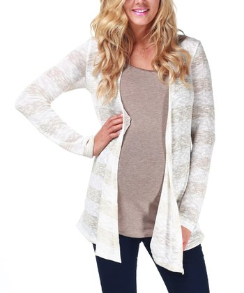Beige Stripe Maternity Open Cardigan