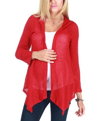 Red Hooded Maternity Open Cardigan - Women