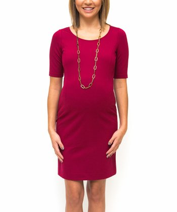 Wine Ponte Maternity Dress