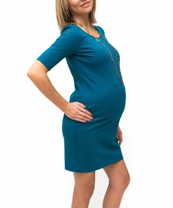 Teal Ponte Maternity Dress