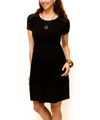 Black Snakeskin Maternity A-Line Dress