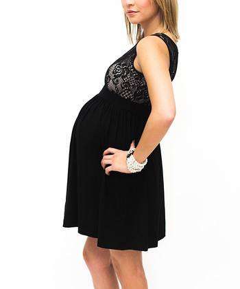 Black Lace Maternity Empire-Waist Dress