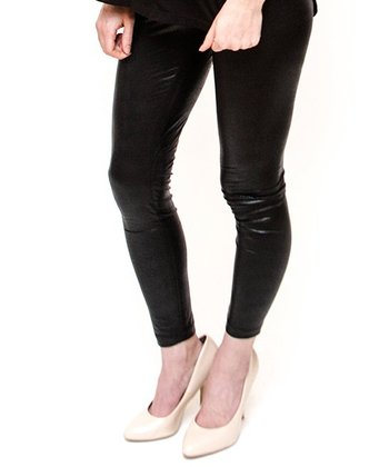 Black Snakeskin Panel Over-Belly Maternity Leggings