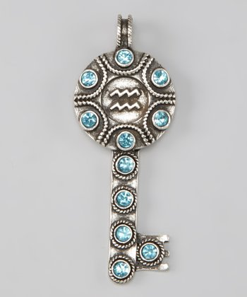 Aqua Sparkle Aquarius Key Pendant