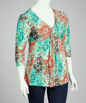 Coral & Aqua Floral V-Neck Top - Plus