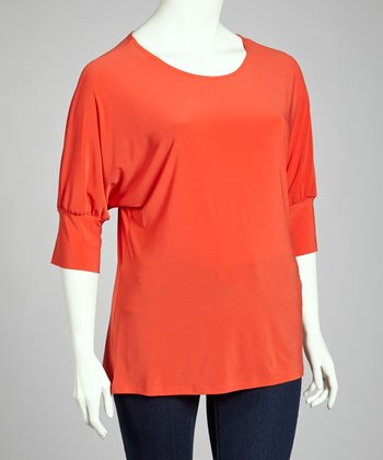 Orange Scoop Neck Top - Plus