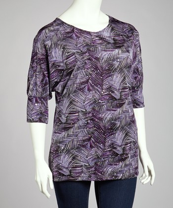 Purple Palm Sequin Scoop Neck Top - Plus