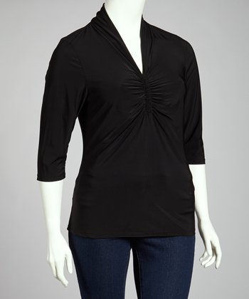 Black Three-Quarter Sleeve Top - Plus
