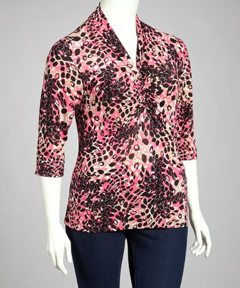Pink & Black Jungle Three-Quarter Sleeve Top - Plus