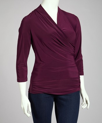 Eggplant Drape Wrap Top - Plus