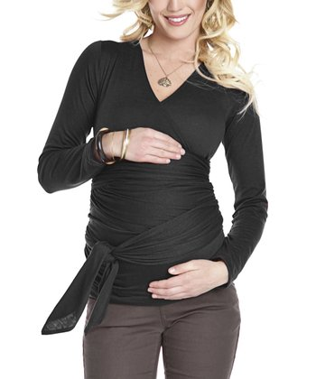 Black Bella Maternity & Nursing Wrap Top