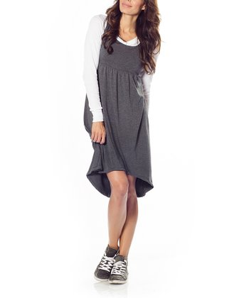 Charcoal Avery Maternity Hi-Low Dress