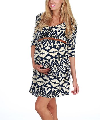 Navy Blue & Cream Tribal Belted Maternity Dress