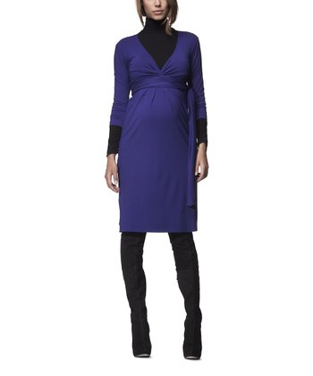 Cobalt Blue Tie-Waist Maternity Dress