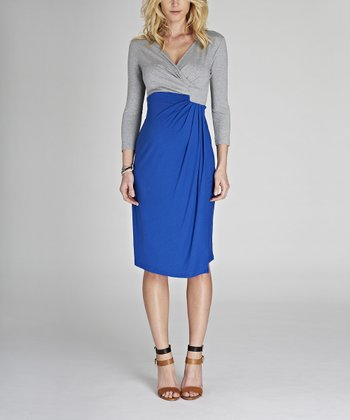 Gray Melange & Cobalt Blue Lana Maternity Dress