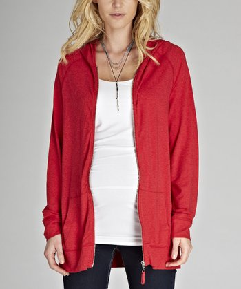Raspberry Melange Joan Zip-Up Maternity Hoodie