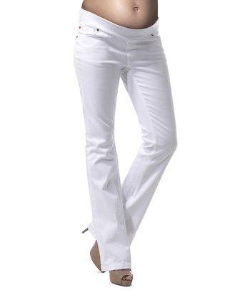 White Marilyn Under-Belly Maternity Bootcut Jeans