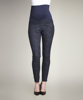 Blue & Black Lace Over-Belly Maternity Skinny Jeans