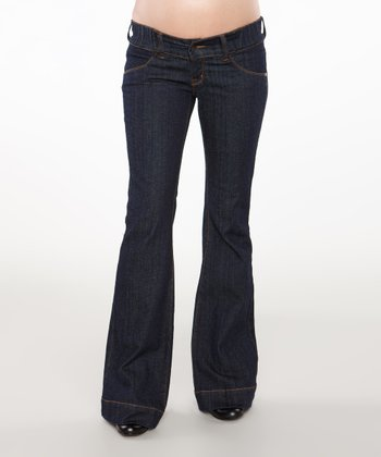Dark Blue Denim Band Maternity Flair Jeans