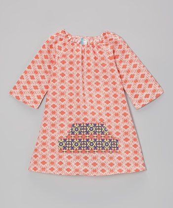 Orange & Blue Geometric Peasant Dress - Infant, Toddler & Girls