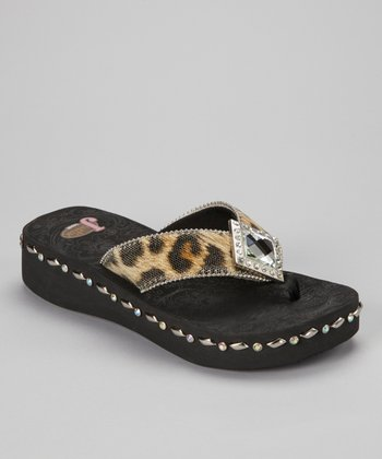 Black Brown Samantha Calf Hair Flip-Flop - Women