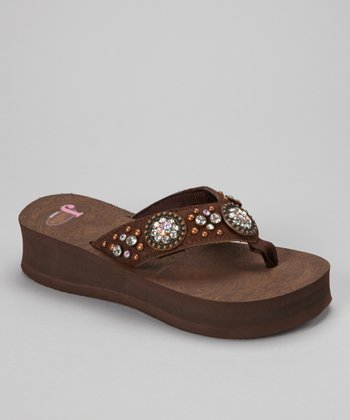 Brown Misty Calf Hair Platform Flip-Flop - Women