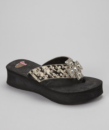 Black & White Randi Calf Hair Platform Flip-Flop - Women