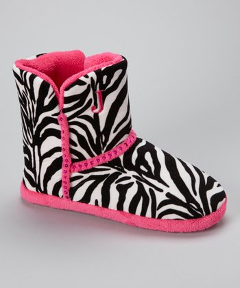 Black & Pink Zebra Sequin Boot Slipper - Women