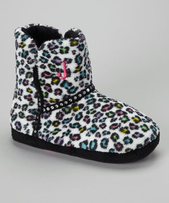 Black & White Snow Leopard Sequin Boot Slipper - Women
