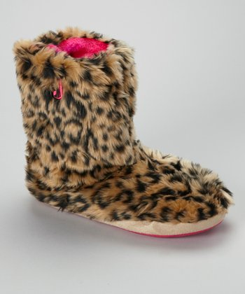 Brown & Black Leopard Boot Slipper - Women