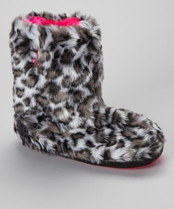 Gray Leopard Boot Slipper - Women