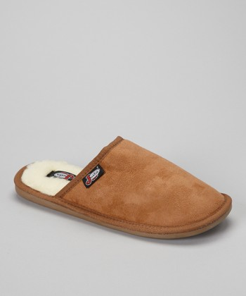 Tan Fleece-Lined Mule Slipper - Men
