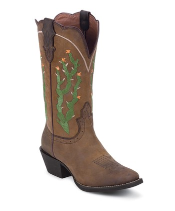 Brown Cactus Cowboy Boot - Women