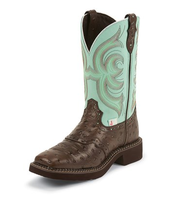 Chocolate & Teal Ostrich Cowboy Boot - Women