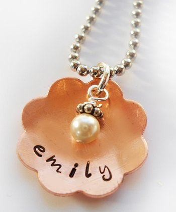 Pearl & Copper Daisy Personalized Pendant Necklace