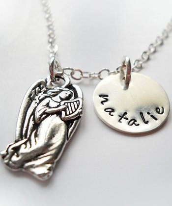 Silver Guardian Angel Personalized Pendant Necklace