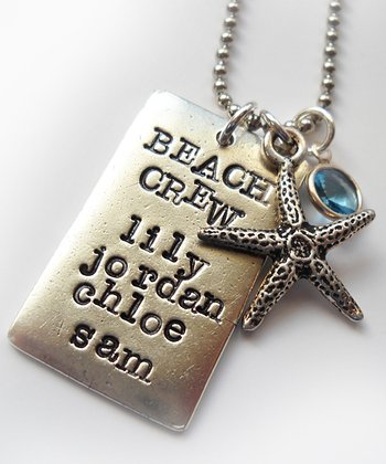 Crystal & Silver 'Beach Crew' Personalized Pendant Necklace