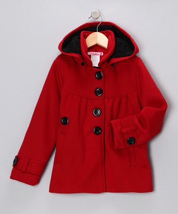 Red Hooded Coat - Girls