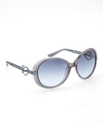 Blue Heart Round Sunglasses - Women