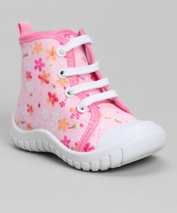 Pink Flash Floral Lace-Up Hi-Top Sneaker