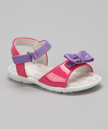 Pink & Purple Patent Bow Sandal