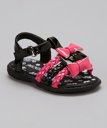 Black & Pink Patent Braided Bow Sandal