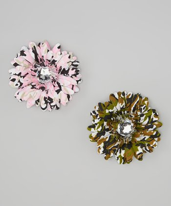 Pink & Green Camouflage Flower Clip Set