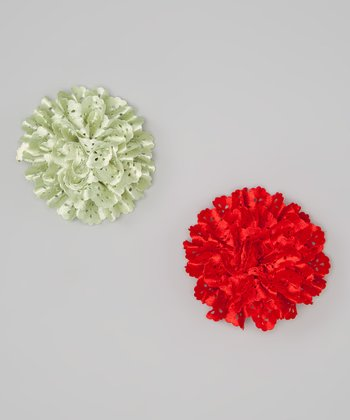 Red & Lemongrass Eyelet Satin Flower Clip Set