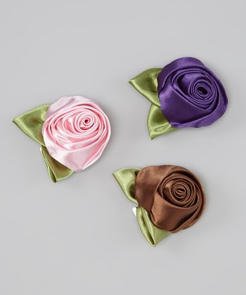 Glam Satin Rolled Rosette Clip Set