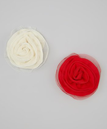 Red & Cream Chiffon & Tulle Rolled Flower Clip Set
