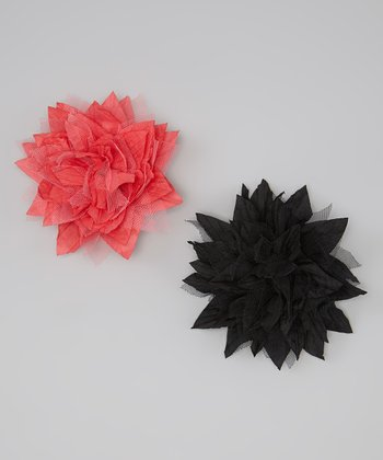 Black & Coral Silk & Tulle Spike Flower Clip Set