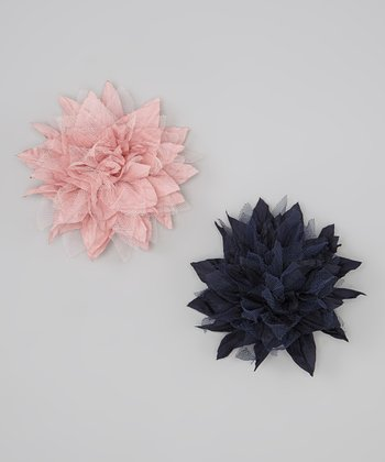 Pale Pink & Navy Blue Silk & Tulle Spike Flower Clip Set
