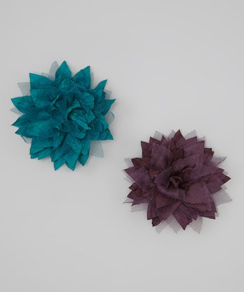 Plum & Teal Silk & Tulle Spike Flower Clip Set