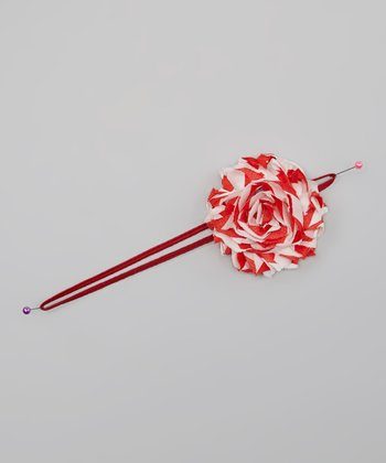 Red Stripe Chiffon Rosette Headband